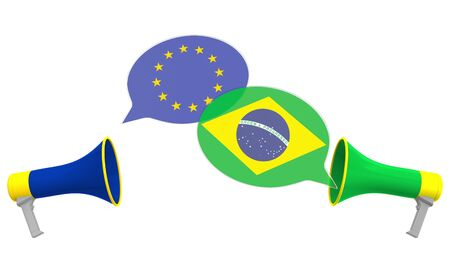 Speech bubbles with flags of Brazil and the EU and loudspeakers. Intercultural dialogue or international talks related 3D rendering
