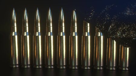 Disintegration of rifle cartridges. Disarmament or military expenditures related conceptual 3D rendering