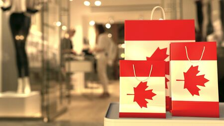 Flag of Canada on the paper shopping bags against blurred store entrance. Retail related 3D rendering