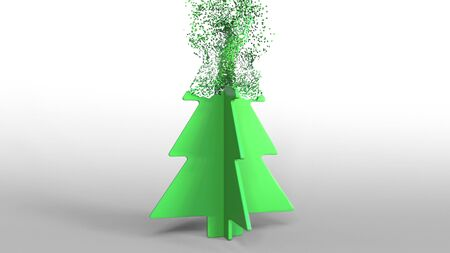 Green toy Christmas tree being composed with dust. 3D rendering