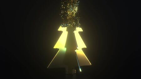 Precious Christmas tree being composed with gold dust. 3D rendering
