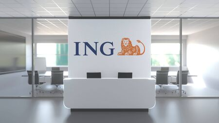 Logo of ING on a wall in the modern office, editorial conceptual 3D rendering
