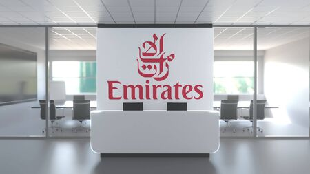 EMIRATES AIRLINES logo above reception desk in the modern office, editorial conceptual 3D rendering