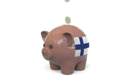 Putting money into piggy bank with flag of Finland. Tax system system or savings related conceptual 3D rendering