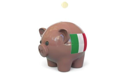 Putting money into piggy bank with flag of Italy. Tax system system or savings related conceptual 3D rendering