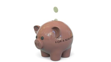 Money fall into piggy bank with FOR A NEW HOME text. Savings related 3D rendering