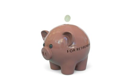 Money fall into piggy bank with FOR RETIREMENT text. Savings related 3D rendering