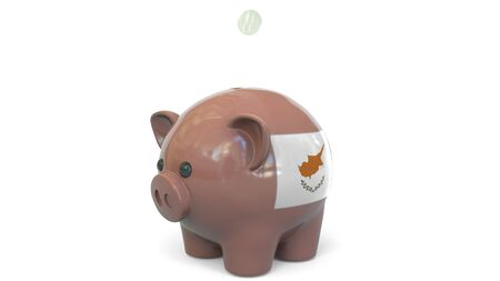 Putting money into piggy bank with flag of Cyprus. Tax system system or savings related conceptual 3D rendering