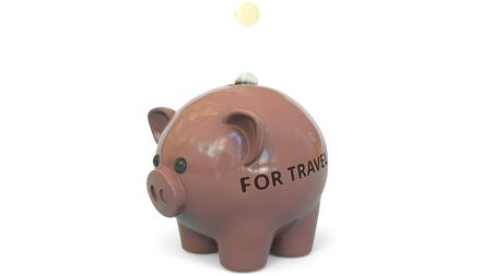 Money fall into piggy bank with FOR TRAVEL text. Savings related 3D rendering 写真素材