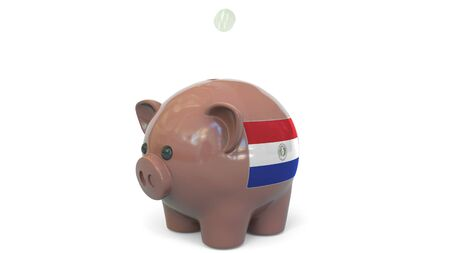 Putting money into piggy bank with flag of Paraguay. Tax system system or savings related conceptual 3D rendering 写真素材