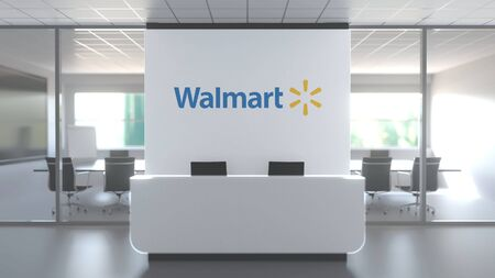 Logo of WALMART, INC. on a wall in the modern office, editorial conceptual 3D rendering