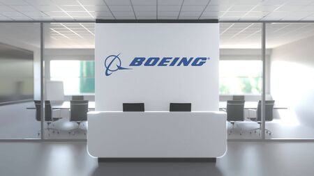 Logo of THE BOEING COMPANY on a wall in the modern office, editorial conceptual 3D rendering