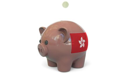 Putting money into piggy bank with flag of Hong Kong. Tax system system or savings related conceptual 3D rendering 写真素材