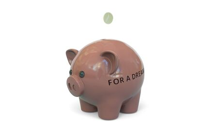 Money fall into piggy bank with FOR A DREAM text. Savings related 3D rendering 写真素材