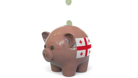 Putting money into piggy bank with flag of Georgia. Tax system system or savings related conceptual 3D rendering