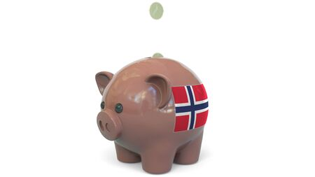 Putting money into piggy bank with flag of Norway. Tax system system or savings related conceptual 3D rendering