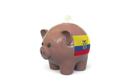 Putting money into piggy bank with flag of Ecuador. Tax system system or savings related conceptual 3D rendering