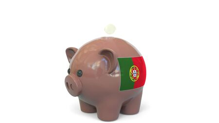 Putting money into piggy bank with flag of Portugal. Tax system system or savings related conceptual 3D rendering 写真素材