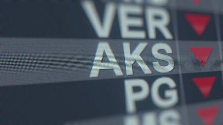 AK STEEL HOLDING AKS stock ticker with decreasing arrow, conceptual Editorial crisis related 3D rendering Redactioneel