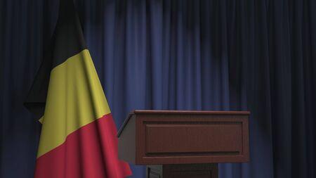 Flag of Belgium and speaker podium tribune. Political event or statement related conceptual 3D rendering