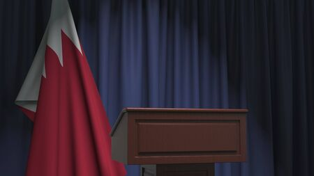Flag of Bahrain and speaker podium tribune. Political event or statement related conceptual 3D rendering