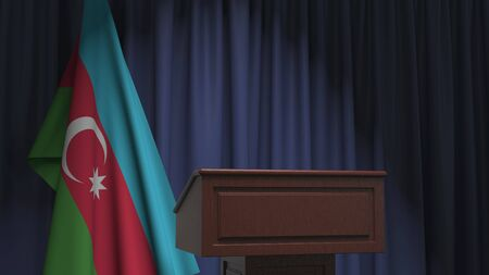 Flag of Azerbaijan and speaker podium tribune. Political event or statement related conceptual 3D rendering