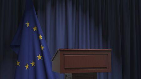 Bandera de la Unión Europea y tribuna del podio del orador. Evento político o declaración relacionada con la representación 3D conceptual