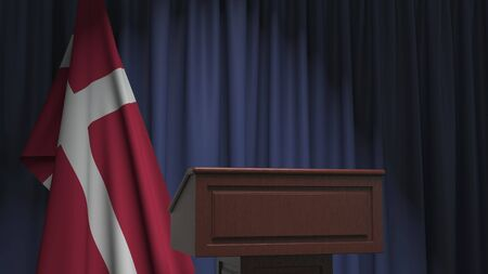Flag of Denmark and speaker podium tribune. Political event or statement related conceptual 3D rendering