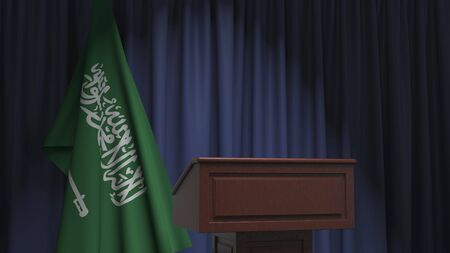 National flag of Saudi Arabia and speaker podium tribune. Political event or statement related conceptual 3D rendering Stock Photo