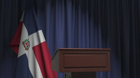 Flag of the Dominican Republic and speaker podium tribune. Political event or statement related conceptual 3D rendering