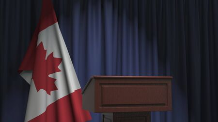 Flag of Canada and speaker podium tribune. Political event or statement related conceptual 3D rendering Reklamní fotografie