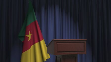 Flag of Cameroon and speaker podium tribune. Political event or statement related conceptual 3D rendering