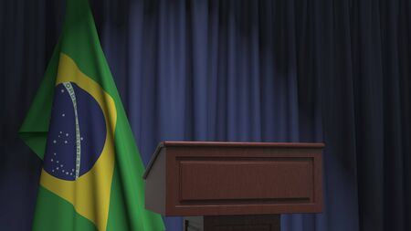 Flag of Brazil and speaker podium tribune. Political event or statement related conceptual 3D rendering Stock Photo