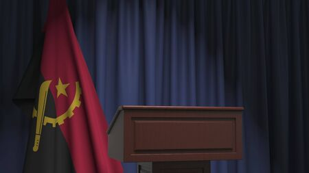 Flag of Angola and speaker podium tribune. Political event or statement related conceptual 3D rendering