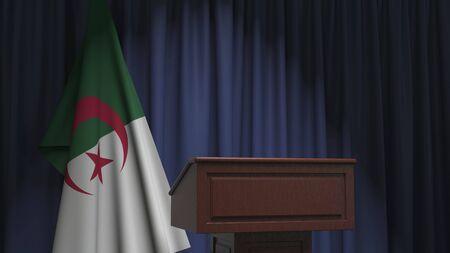 Flag of Algeria and speaker podium tribune. Political event or statement related conceptual 3D rendering
