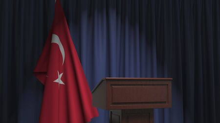 Flag of Turkey and speaker podium tribune. Political event or statement related conceptual 3D rendering Stock Photo