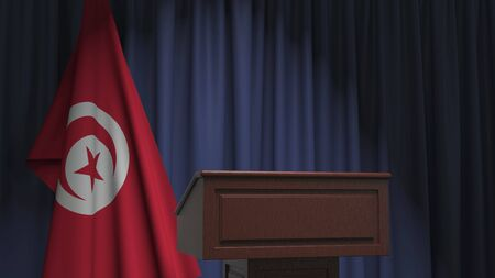Flag of Tunisia and speaker podium tribune. Political event or statement related conceptual 3D rendering