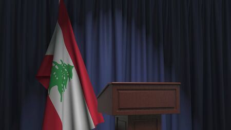 Flag of Lebanon and speaker podium tribune. Political event or statement related conceptual 3D rendering Stock Photo