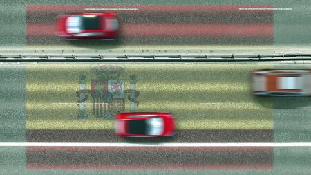 Aerial top down view of cars revealing flag of Spain on the road. Traveling related conceptual 3D rendering