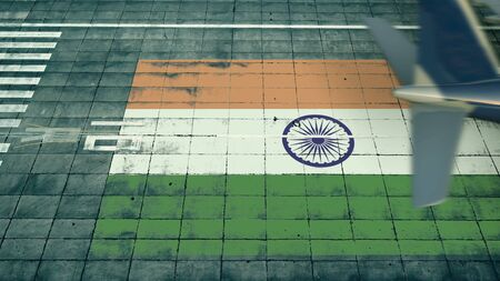 Aerial view of a landing airplane and flag of India on the airfield of an airport. Air travel related conceptual 3D rendering