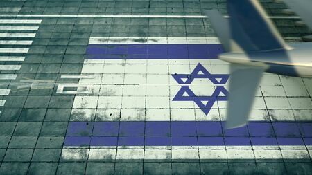 Aerial view of a landing airplane and flag of Israel on the airfield of an airport. Air travel related conceptual 3D rendering