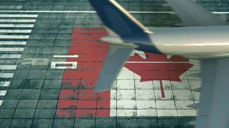 Aerial view of a landing airliner and flag of Canada on the airfield of an airport. Air travel related conceptual 3D rendering