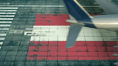 Aerial view of a landing plane and flag of Austria on the airfield of an airport. Air travel related conceptual 3D rendering