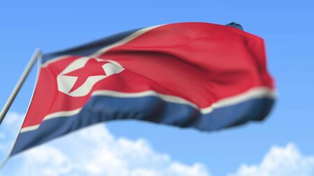 Waving national flag of North Korea, low angle view. 3D rendering