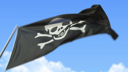 Waving pirate Jolly Roger flag, low angle view. 3D rendering