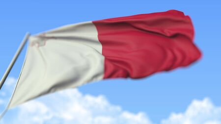 Waving national flag of Malta, low angle view. 3D rendering