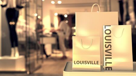 Shopping bags with Louisville caption against blurred store entrance. Shopping in the United States related 3D rendering