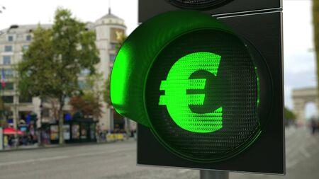 Green traffic light signal close-up. 3D 版權商用圖片
