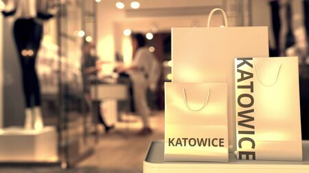 Bags with Katowice text. Shopping in Poland related 3D rendering