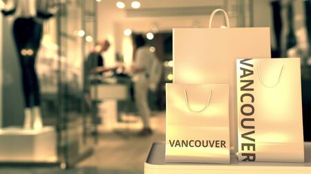 Bags with Vancouver text. Shopping in Canada related 3D rendering